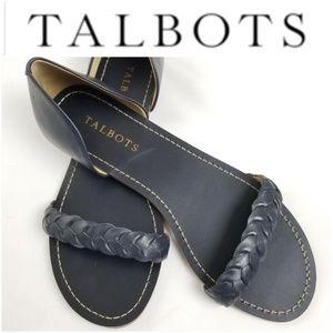 TALBOTS Lulu Navy Leather Braided Sandals!